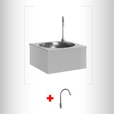 Combo-Lavamanos-acero-inoxidable-pared---Grifo-Sensor-Electrico